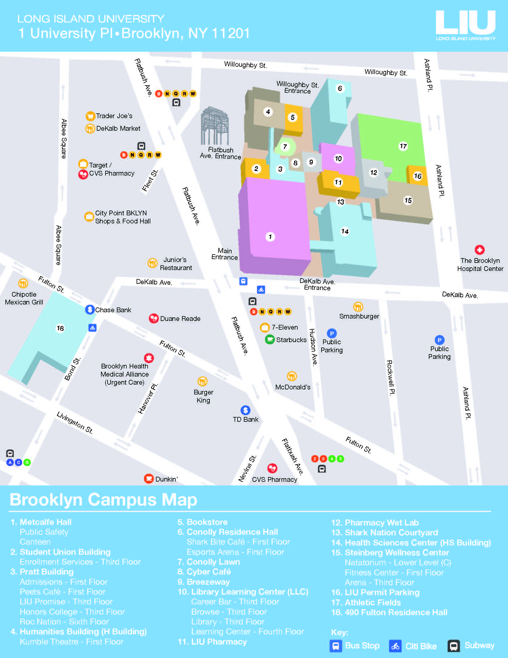 LIU Brooklyn Campus Map