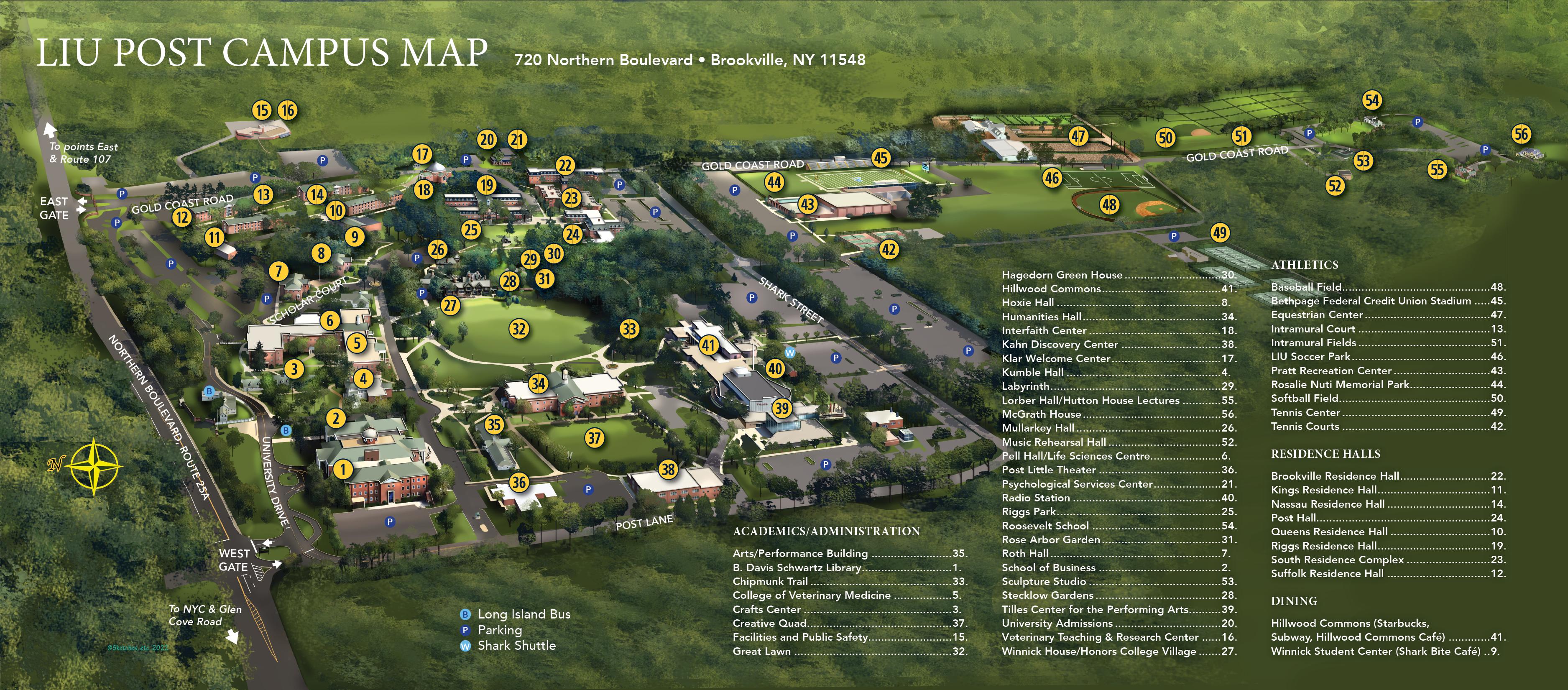 Liu Post Campus Map Campus Map | Long Island University