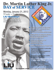 LIU Brooklyn Martin Luther King, Jr. Day of Service January 21, 2103