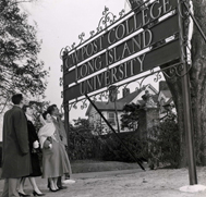Original C.W. Post College Sign at the Main Entrance