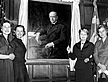 Marjorie Merriweather Post and her daughters unveiling a portrait of C.W. Post