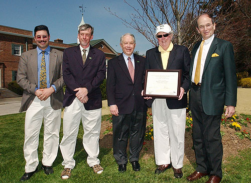 From left: Vincent Simeone, coordinator of the C.W. Post Community Arboretum and director of Planting Fields Arboretum; Case Joosse, grounds manager, C.W. Post Campus; Joseph Shenker, Provost, C.W. Post Campus; the Hon. Richard P. Goodwin, mayor, Village of Brookville; David J. Steinberg, president, Long Island University.