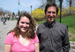 Award-winning science writer Andrew C. Revkin  is pictured with Janelle Hrycik, president of the campus club, Protecting Every Aspect Concerning the Environment (P.E.A.C.E.).