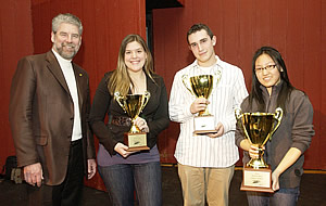 Dr. Paul Forestell, provost of the C.W. Post Campus of Long Island University, with 2010 Long Island Brain Bee finalists (L-R) Samantha Dayton of Farmingdale, N.Y. (3rd place); Dylan Ander of Hewlett, N.Y. (2nd place), and Yvette Leung of Brookville, N.Y. (1st place.)