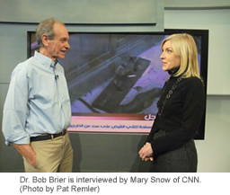 Sr. Bob Brier is interviewed by Mary Snow of CNN