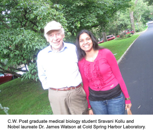 C.W. Post graduate medical biology student Sravani Kollu and Nobel laureate Dr. James Watson at Cold Spring Harbor Laboratory.
