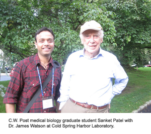 C.W. Post medical biology graduate student Sanket Patel with Dr. James Watson at Cold Spring Harbor Laboratory.