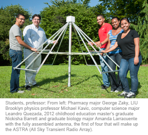 Students, professor: From left: Pharmacy major George Zaky, LIU Brooklyn physics professor Michael Kavic, computer science major Leandro Quezada, 2012 childhood education master's graduate Nickisha Barrett and graduate biology major Amanda Larracuente with the fully assembled antenna, the first of four that will make up the ASTRA (All Sky Transient Radio Array).