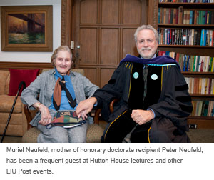 Muriel Neufeld, mother of honorary doctorate recipient Peter Neufeld, has been a frequent guest at Hutton House lectures and other LIU Post events.
