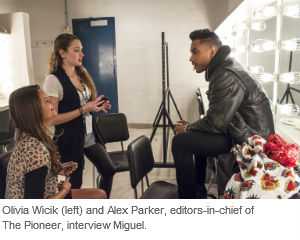 Olivia Wicik (left) and Alex Parker, editors-in-chief of The Pioneer, interview Miguel.