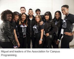 Miguel meets members of the Association for Campus Programming, which sponsored the concert
