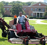 Groundskeeper Mark Ermmarino mows the lush Great Lawn.