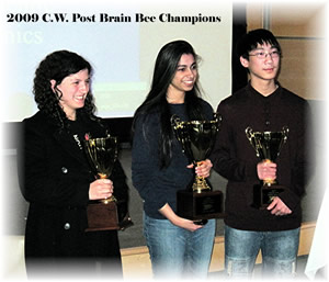 Roslyn H.S. junior Anouva Kalra-Lall won the 10th Annual Long Island Brain Bee (center). Emilee Dobroff of JFK H.S. and David Miao of Sachem H.S. were the Brain Bee's runners-up.