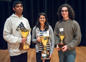 2013 Brain Bee Winners 2nd place winner Rachit Bhatt of Jericho, Jericho High School, 1st place winner Chandana Kochath of Holtsville, Sachem High School, 3rd place winner Eidan Jacob of Setauket, Ward Melville High School.
