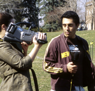 Student Reporting in front of camera