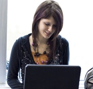 Female student with laptop computer