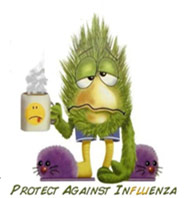 cartoon of someone with flu