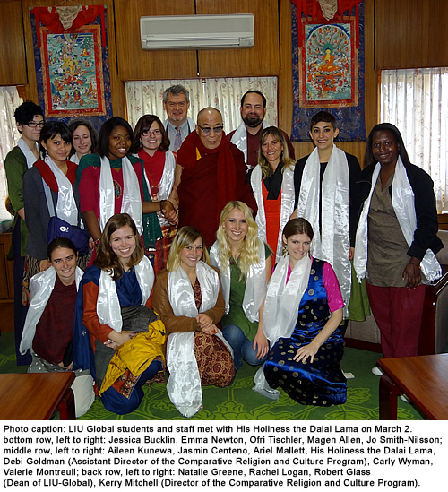 LIU Global Students Meet with the Dalai Lama in India