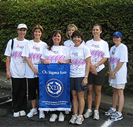 Members of Sigma Kappa Chi Counseling Honor Society take part in Susan Komen Breast Cancer Foundation